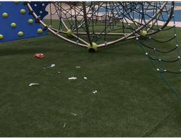 Needles litter children's playground