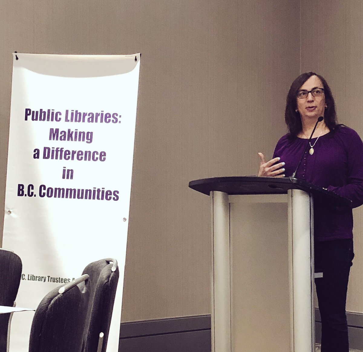 Morgane Oger speaks at the BC Library Trustees Association annual conference