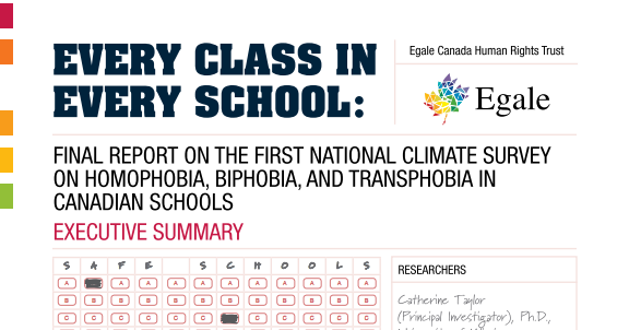 Egale Canada study on anti LGBTQ2+ discrimination and prejudice: every class in every school
