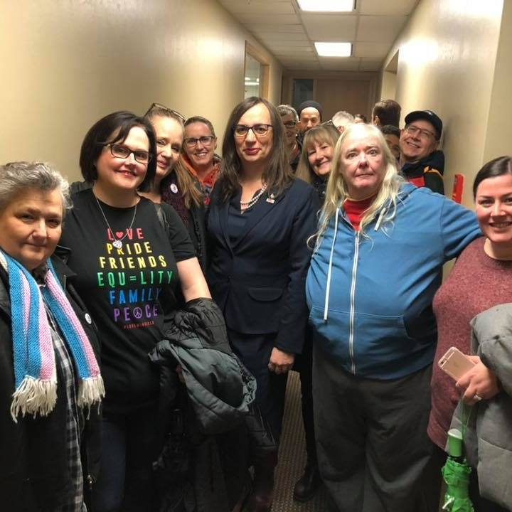 Morgane Oger stands with friends and supporters on the first day of the BC Human Rights Tribunal hearing for the Oger v Whatcott hate speech case in December 2018.
