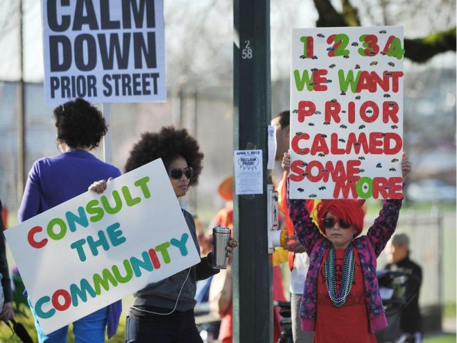 Protesters calling for calming of Prior Street in 2019. Photo: Vancouver Sun